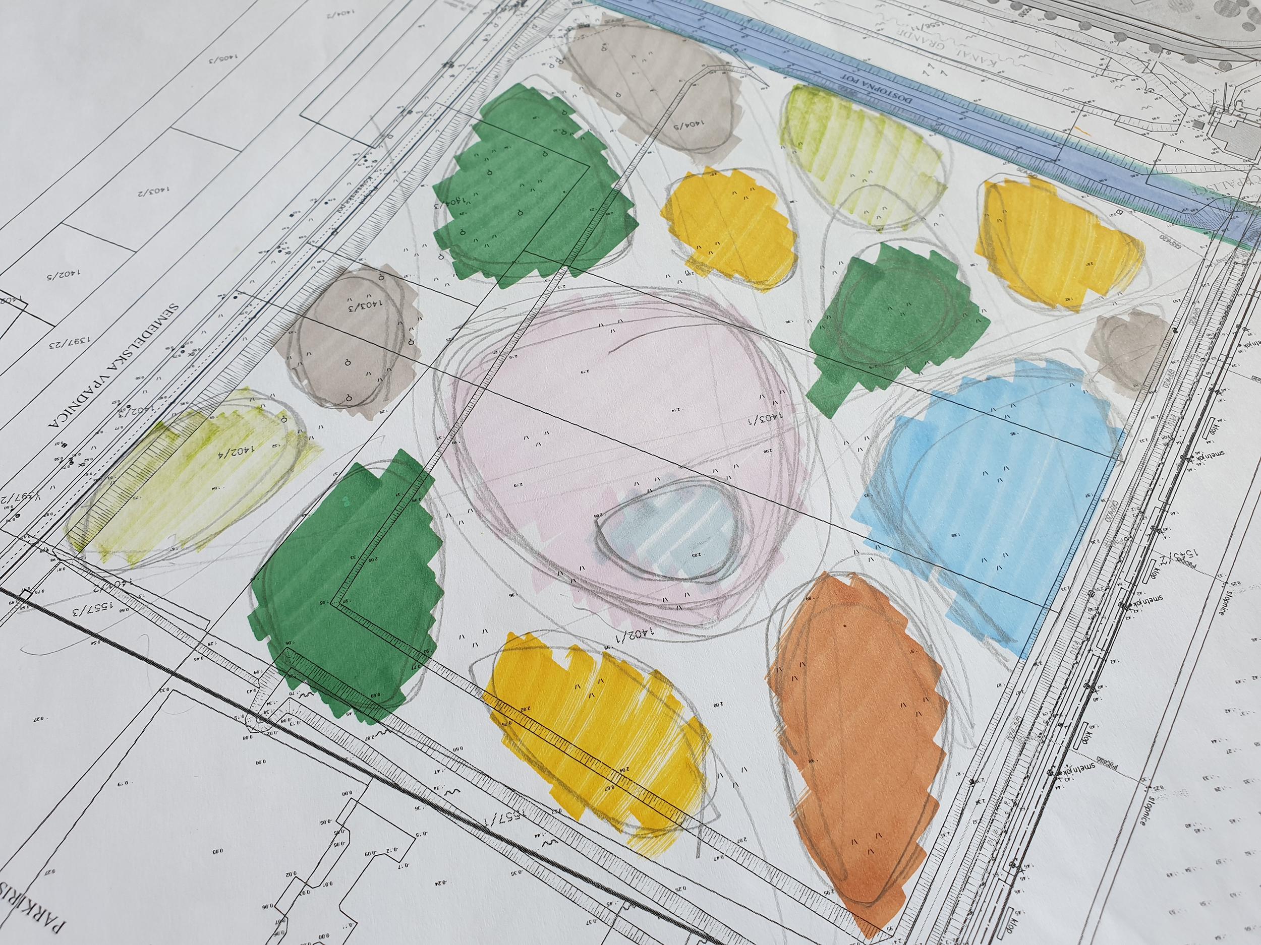 bruto krajinska arhitektura landscape design zasnova skica sketch