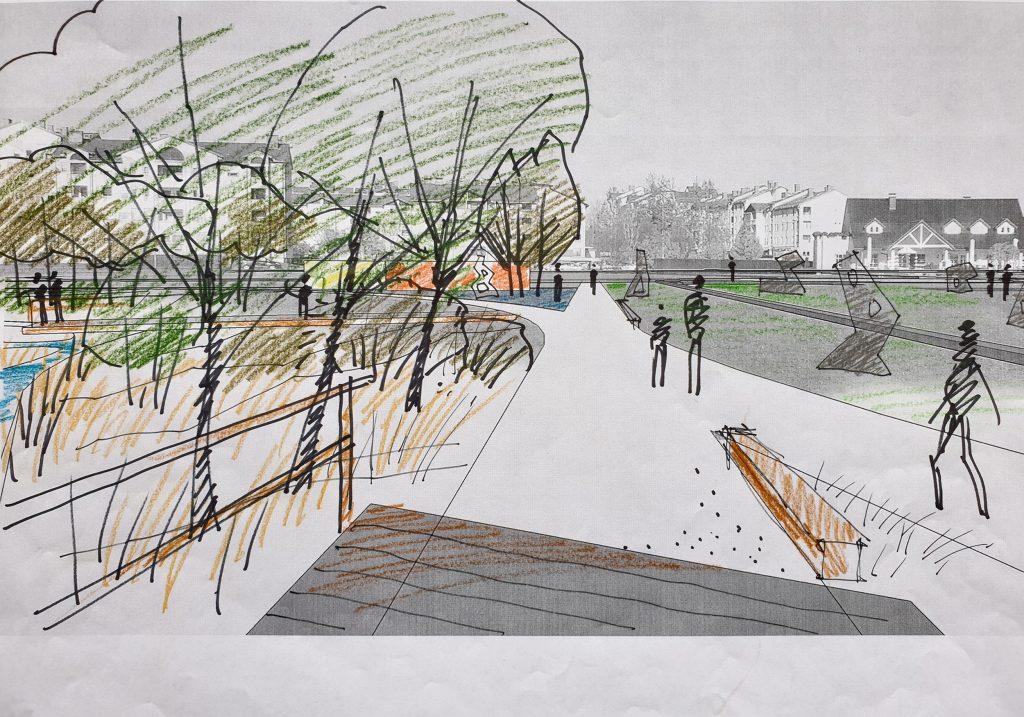 bruto pekrski potok maribor park urban creek potok skica sketch